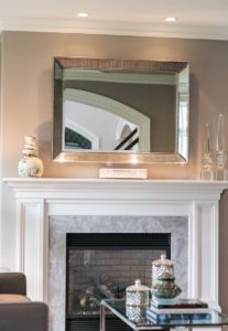Elegant Fireplace Mantle with Wall Paper Custom Marble Surround