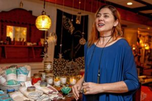 Cigdem Turkomer, manager of Le BonNton in downtown Northampton, talks about handcrafted items featured in the store Dec. 6, 2017.